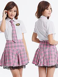 menina da escola-de-rosa melodia poliéster traje (3 peças)