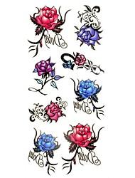 Tatuajes Adhesivos - Modelo/Waterproof - Series de Flor - Mujer/Girl/Adulto/Juventud - Multicolor - Papel - #(1) - #(18.5*8.5)