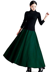 Women's Solid Color High Waist Pleated Wool Skirt