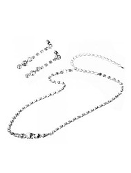 Silver Plated Crystal Rhinestone Bridal Necklace + Chain Stud Earrings Set