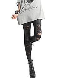 pelle foderata foro pizzo leggings cavi delle donne
