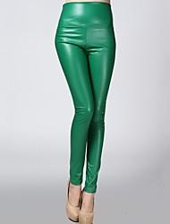 pantalones de incern®women elásticos ajustados de terciopelo de cuero (más colores)