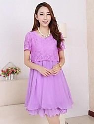 Maternity 3Colors Summer Lace Patchwork Chiffon Dress