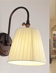 Iron Wall Lamp with Fabric Shade in 1 Light