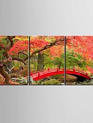 E-Home® Ahorn und Brücken Uhr in Segeltuch 3pcs