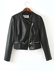 Faux Leather Jacket Women's Long Sleeve Collarless PU Jacket