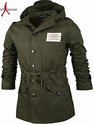 MANWAN WALK®Men's Casual Slim Hooded Jacket with Stay Cord on The Waist.