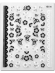 5pcs zwart witte bloem top kwaliteit nail art stickers m-14