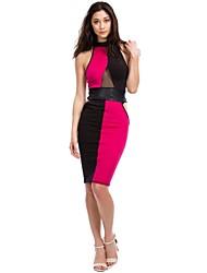 Women's Club Dress,Color Block Knee-length Sleeveless Pink / White Polyester Spring / Summer / Fall / Winter