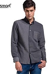 Lesmart Men's Cotton Long-sleeved Gray Shirt Collar Stitching
