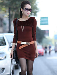 One-xuan Women's Casual Round Neck Knit Dress