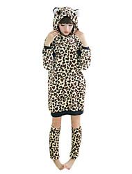 pyjama kigurumi de féroces africains léopard flanelle femmes avec réchauffeur de jambe (de la hauteur 150-170cm)