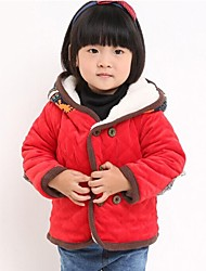 Girl's Print Jacket & Coat,Cotton Blend Winter Red / Yellow