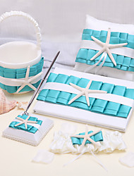 6 Collection Set Blue Garter Guest Book Pen Set Ring Pillow Flower Basket
