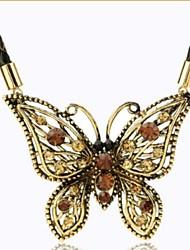 collier en cristal rétro papillon