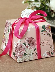 Europe Flower Design Card Paper Favor Box with Ribbon Set of 100 (more colors)