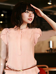 Women's Casual/Daily Simple Summer Blouse,Solid Stand Short Sleeve Blue / Pink / White Others Opaque / Thin