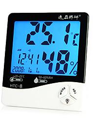 medidor de humedad luz de fondo digital de la temperatura de los hogares con fecha y hora de alarma del reloj función Boyang htc-8