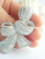 liga de moda prata-tom cristal rhinestone das mulheres bowknot casamento broche de noiva