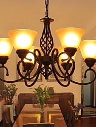 de lujo de estilo pastoral salón moderno 6 luces