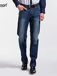 Herren Jeans-Einfarbig Freizeit / Büro Baumwolle Blau