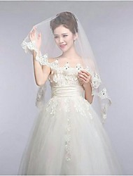 Ivory One Tire Fingertip Wedding Veils with Lace Trim with Crystal ASV9
