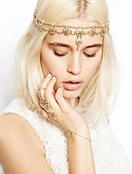 Women's Fashion Europe Pearl Flower Tassel Headband