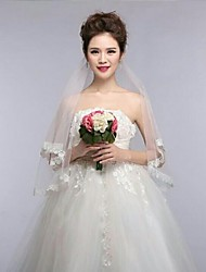 Ivory One Tire Fingertip Wedding Veils with Fine Flower Lace Trim ASV14