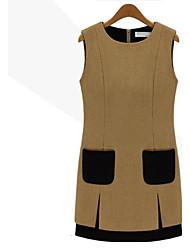 uno-xuan vestido de lana sin mangas ocasional de la mujer