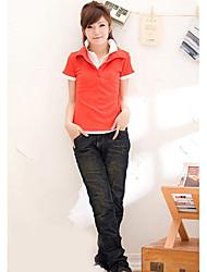 moda colar double-deck de manga curta t-shirt alaranjado
