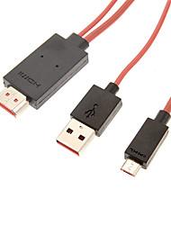 4м 13.12ft MHL мужчина + мужчина USB к HDMI Мужской кабель адаптера для Samsung Galaxy Примечание 2 С3 С4 - красный