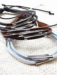z&X® multicamadas artesanais casuais pulseiras de couro dos homens (1pc, preto, branco, café)