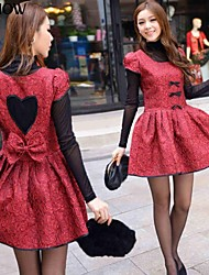MiShow®Women'sRound Collar Hallow Out Heart Design Short Sleeve Bodycon Prom Dress