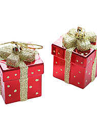 Set Of 2 Christmas Colorful Gift Box ,Plastic