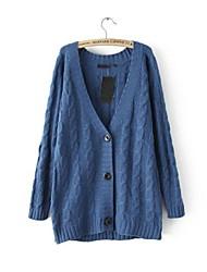Frauen mit V-Ausschnitt Zopfmuster Einreiher Strickjacke Pullover