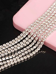 Meters Silver Tone Clear Crystal Rhinestone Chain Line 3D Alloy 1m Handmade DIY Craft Material/Clothing Accessories