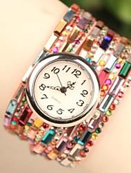 Women's Fashion Beads Band Quartz Analog Bracelet Watch (Assorted Colors)