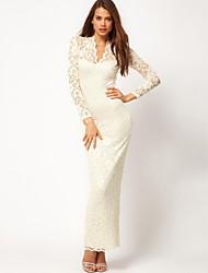 YINQIAN®Women's V Neck Lace Long Maxi Dress (More Colors)
