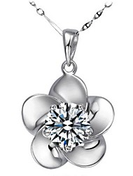 Ladies' Silver Plum Flower Pendant Necklace