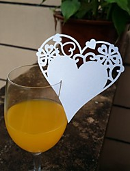 24pcs Laser Cut Heart Lace Cup Name Place Escort Card for Wine Glass Wedding Baby Shower Christmas Party Decoration