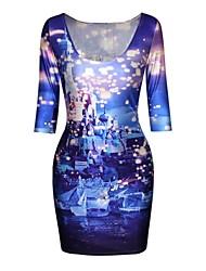 vestido de la media manga de impresión de la estrella del castillo de poliéster de las mujeres pinkqueen®