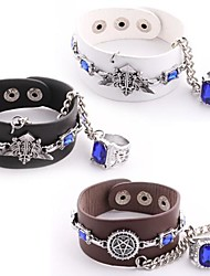 mordomo preto símbolo contrato faustiano pu pulseira de couro cosplay com anel