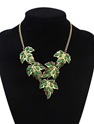 Women's Fashion Beaded Maple Leaf Cluster Bib Statement Necklace