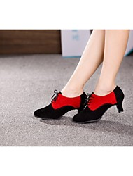Non Customizable Women's Dance Shoes Modern Suede Cuban Heel Black
