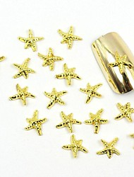 100PCS 3D Gold Nail Jewelry Metal Star for False Acrylic Molds Nail Art Decorations