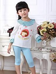 verano 100% algodón conjuntos elásticos de la muchacha (ropa + pantalones)