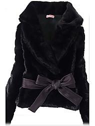 Korean Style Black Rabbit Hair Coat