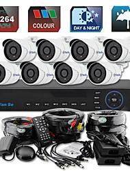 yanse® 8ch d1 cctv dvr kit ir kleuren waterdichte camera beveiligingscamera's systeem 721cc08