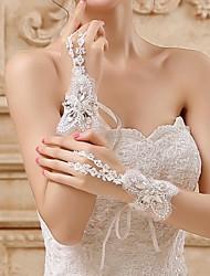 Wrist Length Fingerless Glove Lace/Tulle Bridal Gloves
