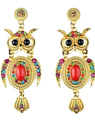 Women's Fashion Owl Alloy Rhinestone Stud Earring(More Colors)